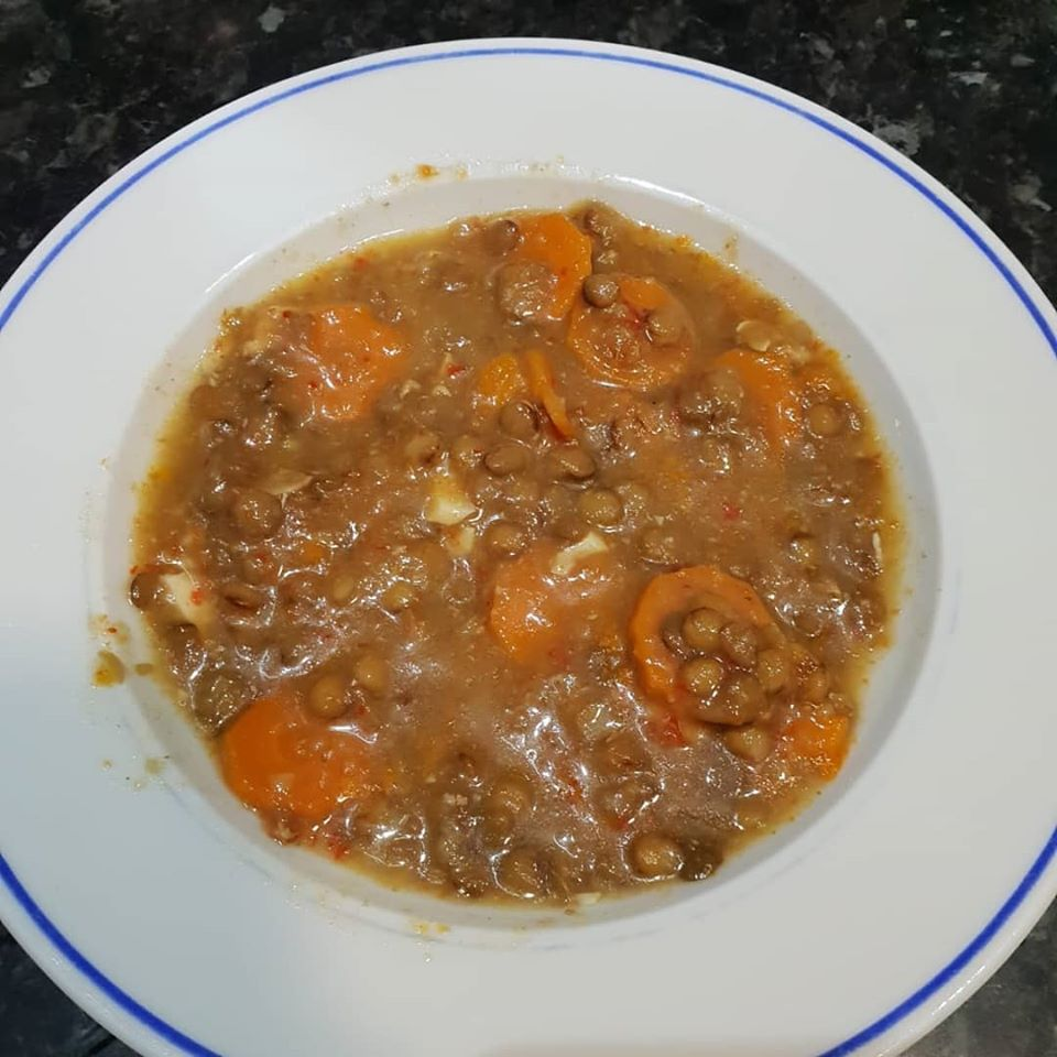 Lentejas con zanahoria y calabaza